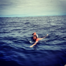 More Atlantic swimming. Note face betraying fear.