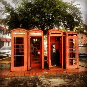 Old telephone boxes in St George's.