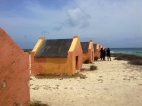 Orange slave houses. Slaves here worked on a different grade of salt.